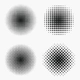 Kreishalbtoneffekte eingestellt Monochrom punktiert Halbton stock abbildung