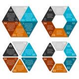 Kreishexagon infographic mit 6 Wahlen Lizenzfreie Abbildung