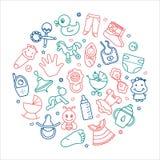Kreishintergrund von Kinderthemen mit Spielwaren, Kleidung und anderen Elementen auf dem Thema von Kindern vektor abbildung