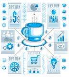 Kreiskonzept Infographics mit Schale T-Stück oder Kaffee, abgehobener Betrag 3d Lizenzfreie Stockfotografie