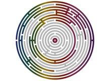 Kreislabyrinthzusammenfassung, Logikpuzzlespiel Stockbild