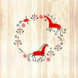 Kreismuster mit dekorativen Elementen der cosmogonic traditionellen Volkskunst Mezensky-Pferd Abbildung Stockfoto