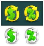 Kreispfeile mit Dollar u. Prozenten Stockfotos