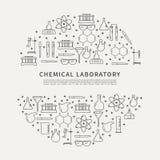 Kreisplakat-Chemikalienlabor Lizenzfreies Stockfoto