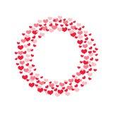 Kreisrahmen mit bunten Herzkonfettis auf dem weißen Hintergrund lokalisiert lizenzfreie abbildung