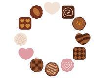 Kreisrahmen mit sortierten Schokoladenikonen Stockfotografie