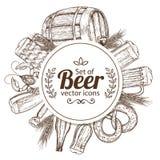 Kreisschablone mit Bierikonen Lizenzfreies Stockfoto