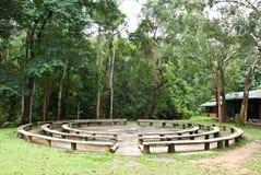 Kreissitz für das Kampieren im Wald Stockfotografie