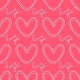 Kreiste die Konturnherzen ein Romantisches nahtloses Vektormuster für Valentinstag oder Hochzeit Stockbilder