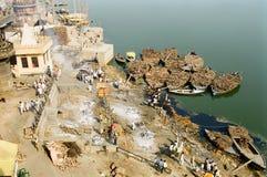 kremaci ghat ind Varanasi Zdjęcia Royalty Free