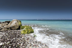 Kremasti strand Rhodes Greece Arkivfoto