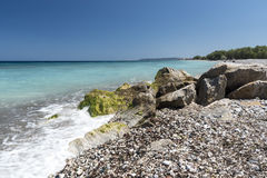 Kremasti strand Rhodes Greece Fotografering för Bildbyråer