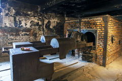 Krematoriet på det Auschwitz-Birkenau statmuseet på Oswiecim i Polen Royaltyfria Bilder