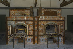 Krematorium för Dachau koncentrationslägerugnar royaltyfria foton