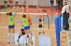 Kremena Kamenova, attacks during the match between CSM Bucharest and CS Stiinta Bacau Royalty Free Stock Photo
