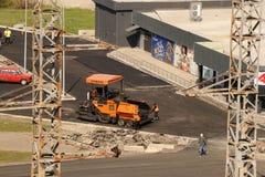Kremenchug, Poltava region, Ukraine, April 9, 2019, laying asphalt near the ATB market stock photos
