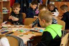 Kremenchug, Poltava region, Ukraine, April 24, 2019, a lesson of creativity in elementary school royalty free stock image