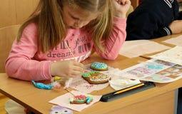 Kremenchug, Poltava region, Ukraine, April 24, 2019, a lesson of creativity in elementary school, children learn to decorate stock photos