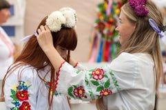 KREMENCHUG, UKRAINE - August 24, 2016 : national holiday-day. Of Ukrainian girls in national dress wearing a flower crown stock photography