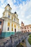 学院前面的阴险的人kremenets城镇乌克兰 免版税库存图片