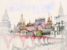 Kreml i den Izmailovo vattenfärgen skissar målning stock illustrationer