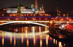 kreml Moscow miasto światła na noc Obrazy Royalty Free