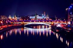 kreml Moscow miasto światła na noc Obraz Stock