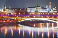 kreml Moscow miasto światła na noc Zdjęcia Royalty Free