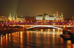 kreml Moscow miasto światła na noc Fotografia Stock