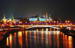 kreml Moscow miasto światła na noc Fotografia Royalty Free
