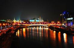 kreml Moscow miasto światła na noc Zdjęcia Stock