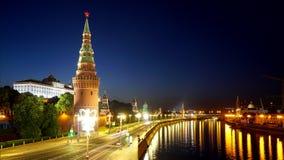 kreml Moscow Zima ranek, świt Zamarzni?ta Moskwa rzeka Kremlowski bulwar zbiory wideo
