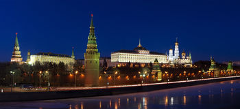 kreml nocy Moscow scena Obraz Royalty Free