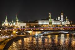 Kreml och Moskva flod Royaltyfri Fotografi