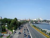 Kreml- och Moskvaflodsikt, Ryssland Arkivbild