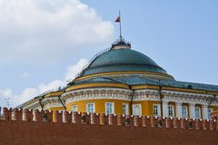 Kremlevky wall. St. Basil's Cathedral on Red Square. Moscow, Russia Stock Photography