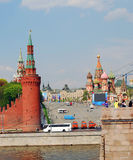 Kremlevskaya embankment of the Moscow river. Royalty Free Stock Photography