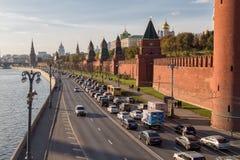 Kremlevskaya embankment, Moscow, Russia. Moscow, Russia - October 31, 2015:Traffic near Moscow Kremlin at Kremlevskaya embankment Royalty Free Stock Image