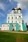 The Kremlin. On a high hill at a confluence of the river Pskovy of the river Great towers now Pskov кремль - Krom - with powerful towers and Royalty Free Stock Photos