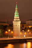 Kremlin. Kind to the beautiful Kremlin from the bridge at night royalty free stock photo