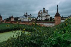 Authentic old Russian town Yuryev-Polsky. Kremlin in ancient russian town Yuryev-Polsky royalty free stock photo