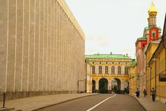 The Kremlin as the center of Moscow. Church in the Moscow Kremlin. Road leading to house of government Royalty Free Stock Photo