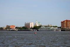 Kremlin in Askrahkan and other landmarks seen from the Volga river. Stock Images