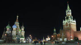 Kremlin and Basil's cathedral in Red Square in Moscow. Night time lapse. stock video footage