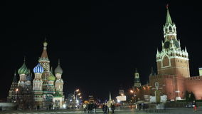 Kremlin and Basil's cathedral in Red Square in Moscow. Night time lapse. stock footage