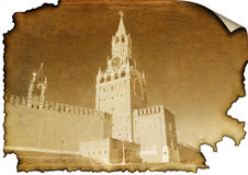 The Kremlin on burned paper Stock Image
