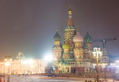 Kremlin and Cathedral of St. Basil at the Red Square in Moscow, Stock Image