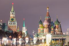 View of Red Square with St. Basil`s Cathedral and Kremlin. Mosco Royalty Free Stock Photography