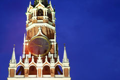 Kremlin chiming clock of Spasskaya Tower. At night in Moscow, Russia Royalty Free Stock Image