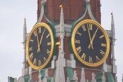 Kremlin clock. Clock at Spasskaya tower, Kremlin, Moscow Royalty Free Stock Photos